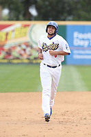 Webster Rivas (8) of the Rancho Cucamonga Quakes runs the bases during a game against the Visalia Rawhide at LoanMart Field on May 6, 2015 in Rancho Cucamonga, California. Visalia defeated Rancho Cucamonga, 7-2. (Larry Goren/Four Seam Images)