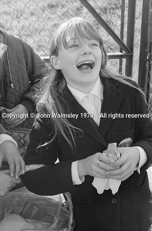 Eating some flavoured ice, Whitworth Comprehensive School, Whitworth, Lancashire.  1970.