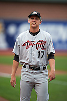 Tri-City ValleyCats pitcher Alex Winkelman (17) walks to the dugout before a game against the Aberdeen Ironbirds on August 6, 2015 at Ripken Stadium in Aberdeen, Maryland.  Tri-City defeated Aberdeen 5-0 in a combined no-hitter.  (Mike Janes/Four Seam Images)