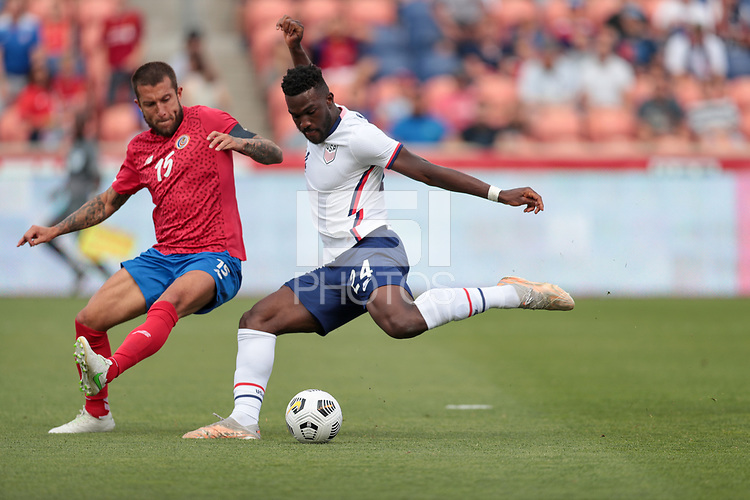 SANDY, UT - JUNE 10: Daryl Dike #24 of the United States takes a shot during a game between Costa Rica and USMNT at Rio Tinto Stadium on June 10, 2021 in Sandy, Utah.