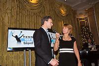 16-12-13, Netherlands, Amsterdam, Amstel Hotel, Tennisser van het jaar, Speaker Marcella Mesker interviewing Sjeng Schalken <br /> Photo: Henk Koster