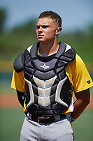 Pittsburgh Pirates catcher Dean Stafford (61) during the national anthem before an Instructional League intrasquad black and gold game on September 28, 2017 at Pirate City in Bradenton, Florida.  (Mike Janes/Four Seam Images)
