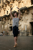 Johannes Stepanek, dancer with The Royal Ballet, Covent Garden, in class on the stage of the Aspendos open-air amphitheatre, Antalya, Turkey