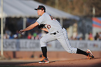 Delmarva Shorebirds starting pitcher Steven Brault #40 delivers a pitch during opening night game against the Asheville Tourists at McCormick Field on April 3, 2014 in Asheville, North Carolina. The Tourists defeated the Shorebirds 8-3. (Tony Farlow/Four Seam Images)