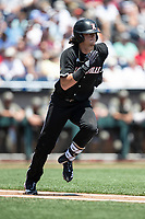 Louisville Cardinals shortstop Tyler Fitzgerald (2) runs to first base during Game 3 of the NCAA College World Series against the Vanderbilt Commodores on June 16, 2019 at TD Ameritrade Park in Omaha, Nebraska. Vanderbilt defeated Louisville 3-1. (Andrew Woolley/Four Seam Images)