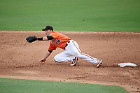 Baltimore Orioles Mason McCoy (58) stretches for an errant throw during an Instructional League game against the Tampa Bay Rays on October 5, 2017 at Ed Smith Stadium in Sarasota, Florida.  (Mike Janes/Four Seam Images)