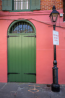 French Quarter, New Orleans, Louisiana.  Lamppost and Doorway, Pirate Alley.