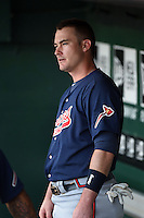 Gwinnett Braves first baseman Joey Terdoslavich (7) in the dugout before a game against the Buffalo Bisons on May 13, 2014 at Coca-Cola Field in Buffalo, New  York.  Gwinnett defeated Buffalo 3-2.  (Mike Janes/Four Seam Images)