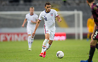 GUADALAJARA, MEXICO - MARCH 24: Hassani Dotson #18 of the United States dribbles with the ball during a game between Mexico and USMNT U-23 at Estadio Jalisco on March 24, 2021 in Guadalajara, Mexico.
