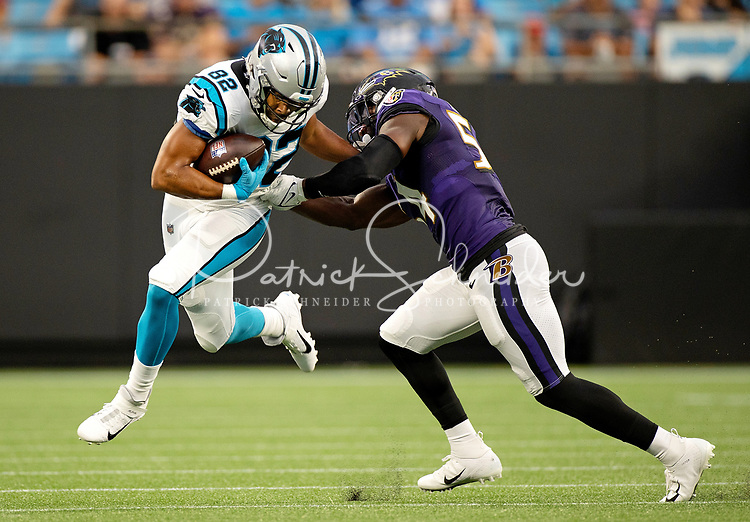 Photography coverage of the Carolina Panthers v. The Baltimore Ravens, Saturday night during the NFL preseason game at Bank of America Stadium in Charlotte, NC. <br /> <br /> Charlotte photographer - Patrick SchneiderPhoto.com