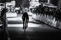 Magnus Nielsen (DEN/Orica Scott) silhouette.<br /> <br /> Binckbank Tour 2017 (UCI World Tour)<br /> Stage 2: ITT Voorburg (NL) 9km