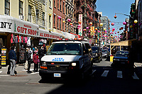 NEW YORK - NEW YORK - MARCH 21: A NYPD car patrols in Chinatown on March 21, 2021 in New York. In the last two months, more than 500 attacks on Asians have been reported in United States. (Photo by John Smith/VIEWpress)