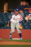 Lexington Legends first baseman Samir Duenez (3) holds a runner on during a game against the Hagerstown Suns on May 22, 2015 at Whitaker Bank Ballpark in Lexington, Kentucky.  Lexington defeated Hagerstown 5-1.  (Mike Janes/Four Seam Images)
