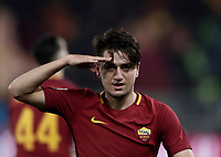 Calcio, Serie A: AS Roma - Benevento, Roma, stadio Olimpico, 11 gennaio 2018.<br /> Roma's Cengiz Under celebrates after scoring during the Italian Serie A football match between AS Roma and Benevento at Rome's Olympic stadium, February 11, 2018.<br /> UPDATE IMAGES PRESS/Isabella Bonotto