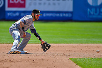 Carlos Asuaje (2) of the El Paso Chihuahuas during the game against the Salt Lake Bees in Pacific Coast League action at Smith's Ballpark on April 24, 2016 in Salt Lake City, Utah. This was Game 1 of a double-header.  El Paso defeated Salt Lake 7-0. (Stephen Smith/Four Seam Images)