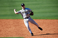 Army West Point shortstop Trey Martin (6) throws to first base during a game against the Michigan Wolverines on February 17, 2018 at First Data Field in St. Lucie, Florida.  Army defeated Michigan 4-3.  (Mike Janes/Four Seam Images)