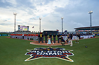 General view of the national anthem before the Florida State League All-Star Game on June 17, 2017 at Joker Marchant Stadium in Lakeland, Florida.  FSL North All-Stars  defeated the FSL South All-Stars  5-2.  (Mike Janes/Four Seam Images)