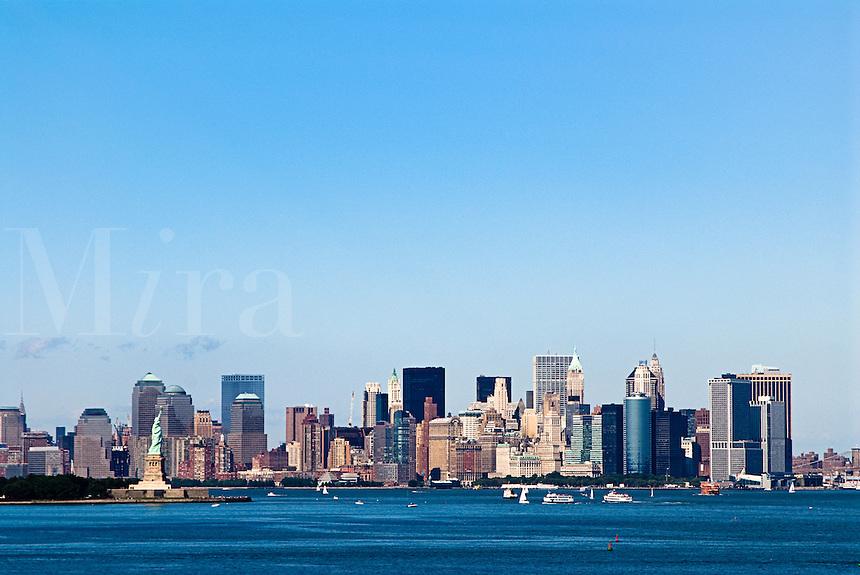 New York city skyline and harbor, NYC, USA