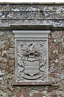 BNPS.co.uk (01202 558833)<br /> Pic: Savills/BNPS<br /> <br /> Pictured: A crest on the arch in the garden.<br /> <br /> A stunning historic castle with views across the Channel to France is on the market for £11m.<br /> <br /> Grade I Listed Lympne Castle dates back to the 13th century and hosted everyone from archbishops and prime ministers to celebrities including Mick Jagger and Sir Paul McCartney.<br /> <br /> The striking property in Hythe, Kent, has such incredible views it was used during the Second World War to spot V1 rockets in Calais on a clear day, allowing coastline guns to be ready to shoot down the rockets over Hythe Bay.<br /> <br /> The grand home, which has been run as a wedding and events venue for the past 20 years, is on the market with Savills.