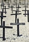 A field of crosses marks the site where the bodies are buried of more than 100,000 victims from the January 2010 earthquake. More than 230,000 people were killed in the quake. Additional bodies have been added since November 2010 to the grave since a cholera epidemic swept through poor neighborhoods of Haiti, killing more than 3,600 people...