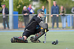 GER - Mannheim, Germany, October 02: During the men hockey match between Mannheimer HC (red) and HTC Uhlenhorst Muehlheim (white) on October 2, 2016 at Mannheimer HC in Mannheim, Germany. Final score 4-4 (HT 1-3). (Photo by Dirk Markgraf / www.265-images.com) *** Local caption *** Lennart Kueppers (TW) #1 of HTC Uhlenhorst Muehlheim