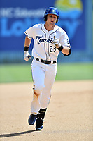 Asheville Tourists first baseman Tyler Nevin (23) rounds the bases after hitting a home run during a game against the Rome Braves at McCormick Field on July 30, 2017 in Asheville, North Carolina. The Braves defeated the Tourists 7-3. (Tony Farlow/Four Seam Images)