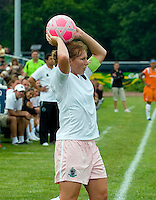 St Louis Athletica midfielder Lori Chalupny (17) throws the ball in during a WPS match at Anheuser-Busch Soccer Park, in St. Louis, MO, June 7, 2009. Athletica won the match 1-0.