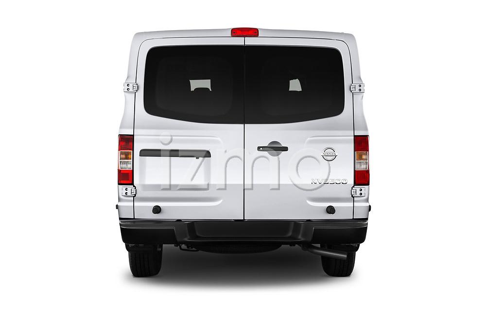 Straight rear view of 2020 Nissan NV-Passenger S 4 Door Passenger Van Rear View  stock images