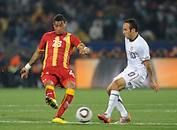 Goalscorers Landon Donovan of USA and Kevin Prince Boateng of Ghana. Ghana defeated the USA 2-1 in overtime in the 2010 FIFA World Cup at Royal Bafokeng Stadium in Rustenburg, South Africa on June 26, 2010.