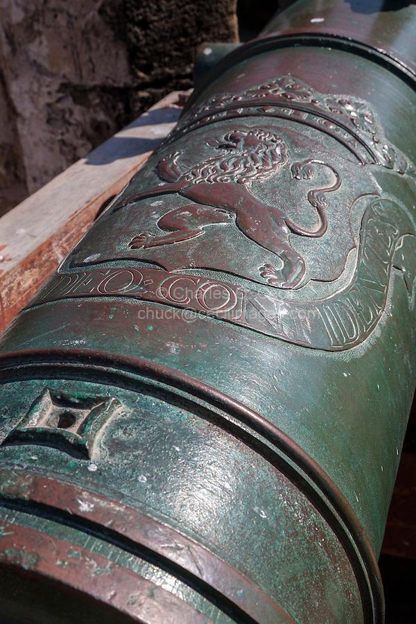 Essaouira, Morocco.  Old Spanish Cannon on the Town Ramparts, Rue de la Skala.