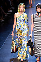 MILAN, ITALY - SEPTEMBER 27:  A model walks the runway during the Dolce & Gabbana fashion show as part of Milan Fashion Week  Spring/Summer 2016 on September 27, 2015 in Milan, Italy.