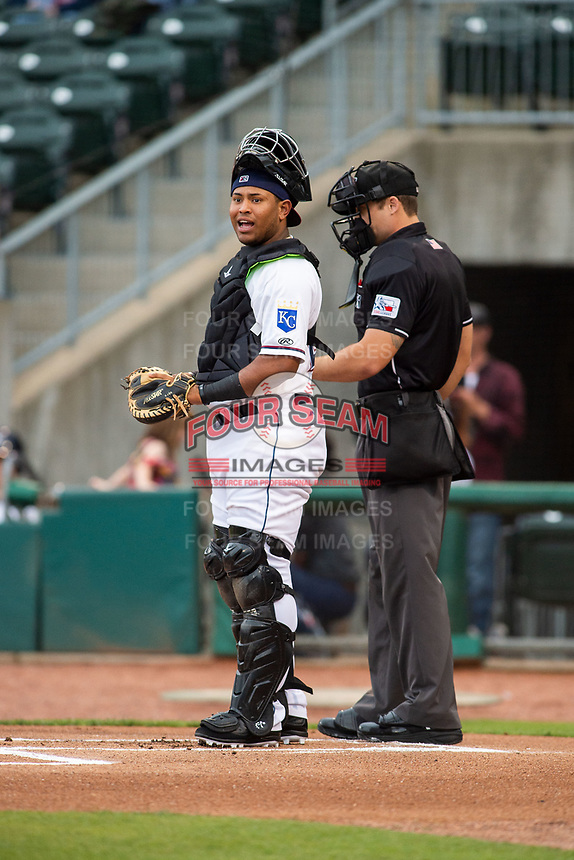 Northwest Arkansas Naturals catcher Meibrys Viloria (22) looks toward third base on May 1, 2019, at Arvest Ballpark in Springdale, Arkansas. (Jason Ivester/Four Seam Images)