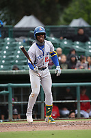 Lazaro Armenteros (13) of the Stockton Ports bats against the Inland Empire 66ers at San Manuel Stadium on May 26, 2019 in San Bernardino, California. (Larry Goren/Four Seam Images)