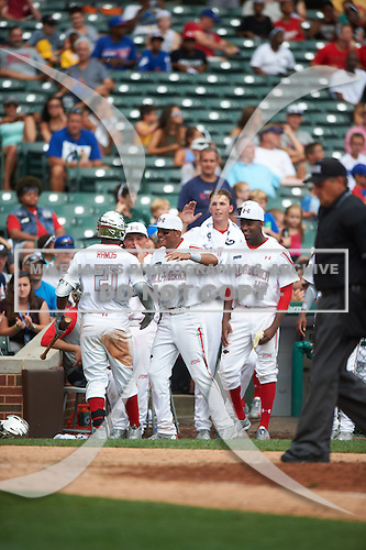 Heliot Ramos (21) of San Juan, Puerto Rico during the Under Armour All-American Game presented by Baseball Factory on July 23, 2016 at Wrigley Field in Chicago, Illinois.  (Mike Janes/Four Seam Images)