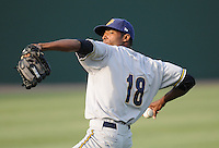 RHP Jairo Heredia (18) of the Charleston RiverDogs, Class A affiliate of the New York Yankees, in a game against the Greenville Drive on May 27, 2010, at Fluor Field at the West End in Greenville, S.C. Heredia is one of the Yankees' top prospects. Photo by: Tom Priddy/Four Seam Images