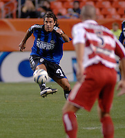 Colorado forward Jovan Kirovski plays a ball upfield. The Colorado Rapids drew 0-0 with FC Dallas in the first game of the Western Conference Semi-finals Invesco Field at Mile High, Denver, Colorado, September 22, 2005.