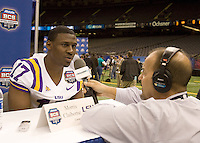 Morris Claiborne of LSU talks with the reporters during BCS Media Day at Mercedes-Benz Superdome in New Orleans, Louisiana on January 6th, 2012.