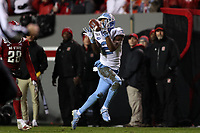 RALEIGH, NC - NOVEMBER 30: Dyami Brown #2 of the University of North Carolina catches a touchdown pass during a game between North Carolina and North Carolina State at Carter-Finley Stadium on November 30, 2019 in Raleigh, North Carolina.