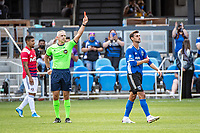 SAN JOSE, CA - APRIL 24: Chris Wondolowski #8 of the San Jose Earthquakes receives a red card during a game between FC Dallas and San Jose Earthquakes at PayPal Park on April 24, 2021 in San Jose, California.