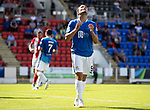 St Johnstone v East Fife…14.07.18…  McDiarmid Park    League Cup<br />Chris Kane reacts after  missing a tap in<br />Picture by Graeme Hart. <br />Copyright Perthshire Picture Agency<br />Tel: 01738 623350  Mobile: 07990 594431