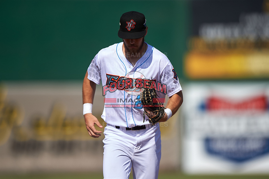 Inland Empire 66ers center fielder Brandon Marsh (20) jogs off the field between innings of a California League game against the Lancaster JetHawks at San Manuel Stadium on May 20, 2018 in San Bernardino, California. Inland Empire defeated Lancaster 12-2. (Zachary Lucy/Four Seam Images)