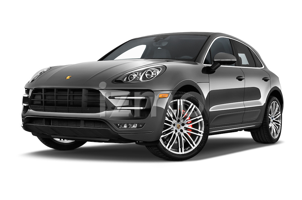 Stock pictures of low aggressive front three quarter view of a 2018 Porsche Macan Turbo 5 Door SUV