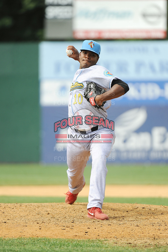 Reading Fightin Phils pitcher Perci Garner (10) during game against the New Britain Rock Cats  at New Britain Stadium on July 13, 2014 in New Britain, CT. Reading defeated New Britain 6-4.  (Tomasso DeRosa/Four Seam Images)