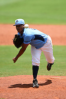 Charlotte Stone Crabs pitcher Jose Alberto Molina (25) delivers a pitch during a game against the Fort Myers Miracle on June 24, 2014 at Charlotte Sports Park in Port Charlotte, Florida.  Fort Myers defeated Charlotte 7-6.  (Mike Janes/Four Seam Images)