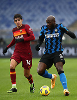 Football, Serie A: AS Roma -  FC Internazionale Milano, Olympic stadium, Rome, January 10, 2021. <br /> Inter's Romelu Lukaku (r) in action with Roma's Gonzalo Villar (l) during the Italian Serie A football match between Roma and Inter at Rome's Olympic stadium, on January 10, 2021.  <br /> UPDATE IMAGES PRESS/Isabella Bonotto