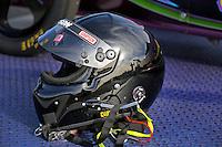 Feb. 15, 2013; Pomona, CA, USA; The helmet of NHRA top fuel dragster driver Leah Pruett during qualifying for the Winternationals at Auto Club Raceway at Pomona. Mandatory Credit: Mark J. Rebilas-