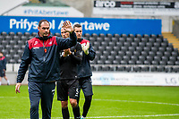 Swansea manager Paul Clement waves to supporters during the Swansea City Training Session at The Liberty Stadium, Swansea, Wales, UK. 02 August 2017