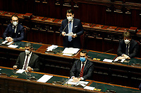 The Italian Premier Giuseppe Conte wearing a face mask during the information at the Lower Chamber about the Government crisis surrounded by ministers Alfonso Bonafede, Riccardo Fraccaro, Luigi di Maio, Dario Franceschini.<br /> Rome(Italy), January 18th 2021<br /> Photo Samantha Zucchi/Insidefoto
