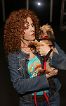 Bernadette Peters, with q dog from The Humane Society of New York, filming a promo for the Broadway Barks 2019 Announcement at Shubert Alley on June 20, 2019 in New York City.