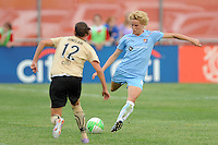 Daphne Koster (4) of Sky Blue FC. FC Gold Pride defeated Sky Blue FC 1-0 during a Women's Professional Soccer (WPS) match at Yurcak Field in Piscataway, NJ, on May 1, 2010.